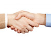 business handshake over a white background